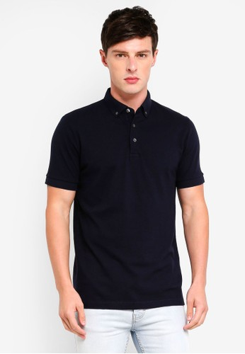 French Connection blue S66 Parched Textured Polo Shirt 741CFAA2E19F23GS_1