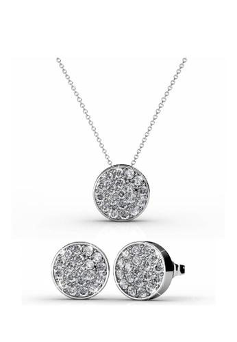 Her Jewellery silver Swarovski® Crystals - Round Set (White Gold)(18K White Gold Plated) Her Jewellery HE581AC0RAZNMY_1