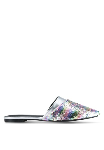Something Borrowed silver Sequin Slip On Flats C3B2BSH503F4FAGS_1