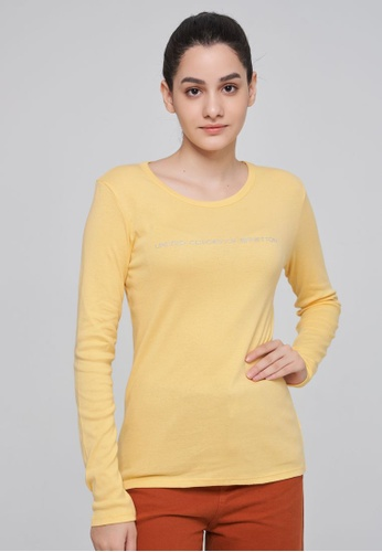 United Colors of Benetton yellow Long Sleeve Logo T-shirt 808FEAAE0BA27BGS_1