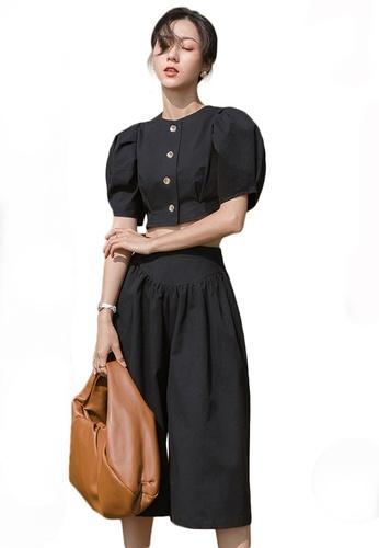 Sunnydaysweety black Puff Sleeve Cropped Top with Wide-Leg Pants Set A21031912BK 51E59AAB0C73B6GS_1