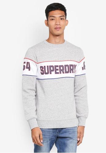 Superdry grey Retro Stripe Crew 4A421AA46ED1D5GS_1