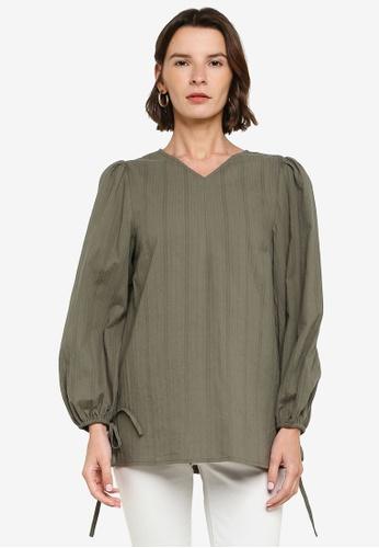 ZALIA BASICS green Loose Fit Puff Sleeve Blouse E5098AA99AC6E3GS_1