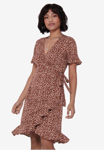 ONLY brown Olivia Wrap Dress 17E86AA7D0C904GS_1