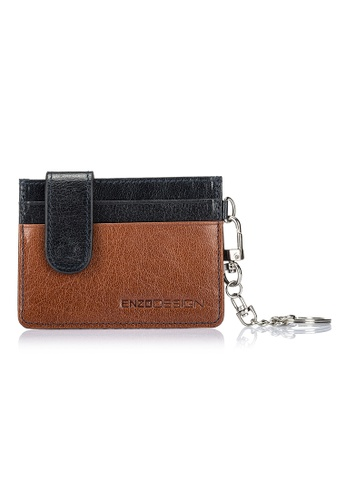 ENZODESIGN brown and multi and navy Buffalo Leather Credit Card Holder With Detachable Key Ring EN357AC0FEFYSG_1