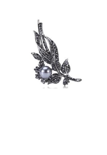 Glamorousky black Fashion and Elegant Leaf Grey Imitation Pearl Brooch with Cubic Zirconia FA199AC8B4F0A0GS_1