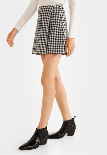 Mango black Check Wrap Skirt E02BBAA693FB12GS_1