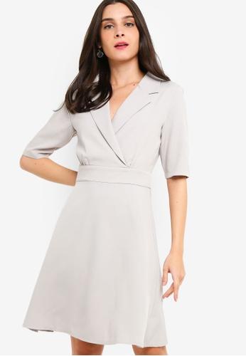 ZALORA grey Blazer Collar Dress 652F8AAA46E42FGS_1