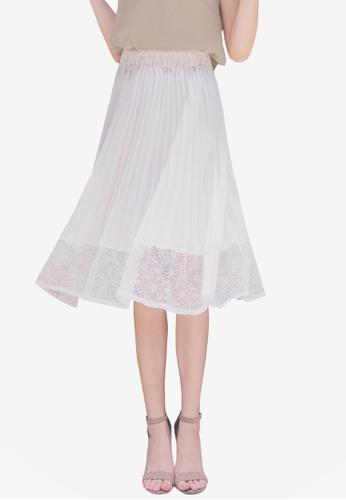 Yoco white Chiffon Lace Mesh Pleated Skirt D0EC8AA3AAE482GS_1