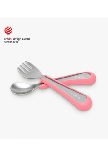 Viida [VIIDA] The Soufflé Kids Antibacterial Stainless Steel Fork and Spoon Set, Taffy Pink (Small) for Toddler 6 Months to 2 Years Old Children - Eco-Friendly, Safe, FDA Certified, SGS Tested E928CHL0F19697GS_1