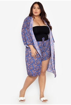 2d35dc62e96 Fashion Fanatix blue Plus Size Kimono and Shorts Set 29BF8US89E2E9EGS 1