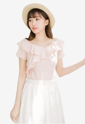 Eyescream pink Ruffle Neckline Top 07F75AAA2BB4A4GS_1