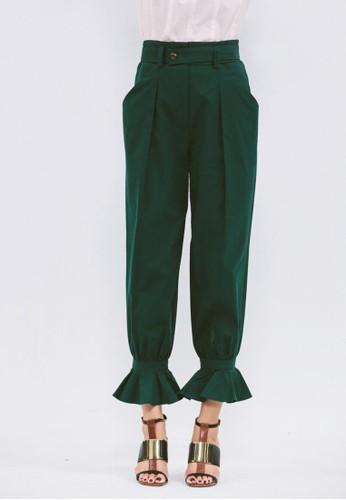 腳踝荷葉綴esprit分店飾長褲, 服飾, 直腳褲