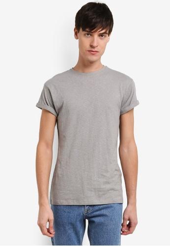 Topman grey Linen-Look Muscle Roller T-Shirt TO413AA0RXUTMY_1