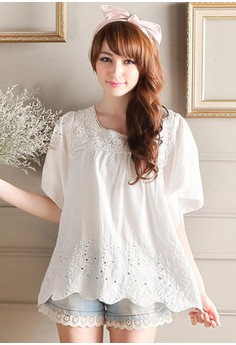 [IMPORTED] Angelic Flutter Eyelet Top - White
