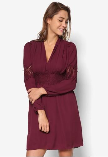 蕾絲拼接低胸洋裝, 服飾, esprit分店洋裝