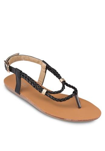 編織夾腳繞踝涼鞋, 女鞋esprit hk store, 鞋