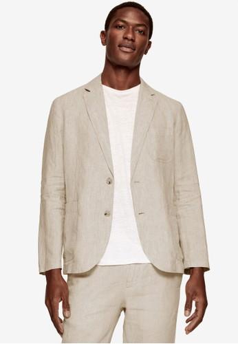 MANGO Man beige 100% Linen Slim Fit Blazer AB9B5AAE00B312GS_1