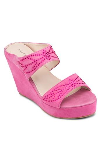 雙帶麂皮閃飾楔形esprit旗艦店鞋, 女鞋, 高跟