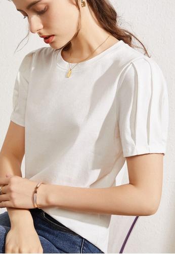 HAPPY FRIDAYS white Pleated Sleeve Top JW GW-J138 70ABDAAFD61E73GS_1