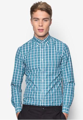 esprit hong kong 分店格紋修身棉質長袖襯衫, 服飾, 服飾