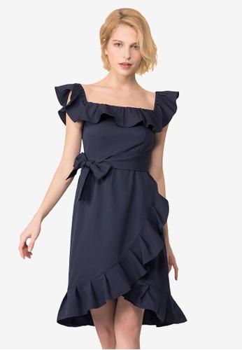Kodz blue Ruffle Layers Off-Shoulder Dress A3F5EAA07BA620GS_1