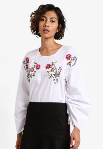 TOPSHOP white Floral Embroidered Poplin Top TO412AA0RCFGMY_1