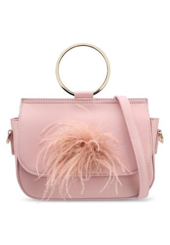 VINCCI pink Feather Sling Bag 93A02ACFAF2CBAGS_1