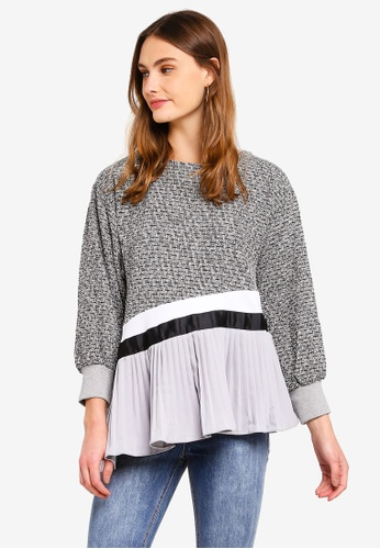 Haute Kelly grey Hyo-Son Knit Top With Pleats 456A7AAE7880B3GS_1