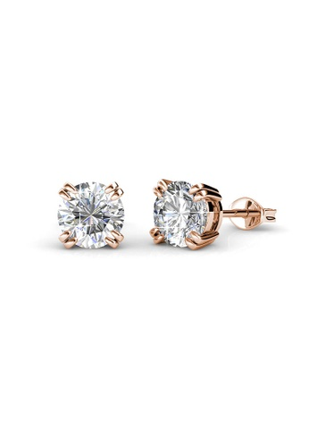 7a0da063e LOVE AND LIFE gold Love and Life Lowe Solitaire Earrings (18K RG Plated)  embellished