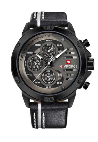 Naviforce white Naviforce Black and White Leather Watch CB3D9ACC75D2DDGS_1