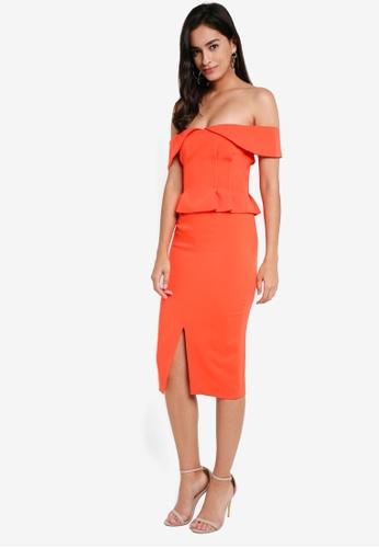 Lavish Alice orange Bardot Corset Midi Dress LA457AA0SSQQMY_1