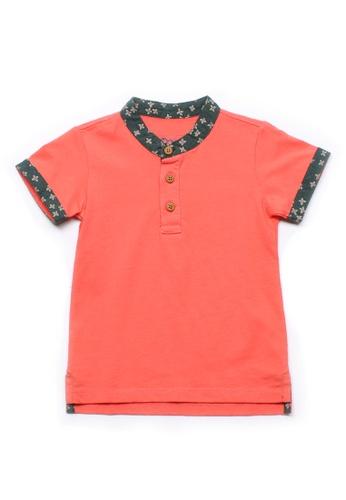 Mini Moley pink Floral Motif Mandarin Collar Boy's Polo T-Shirt 37CCEKAA05C8ABGS_1