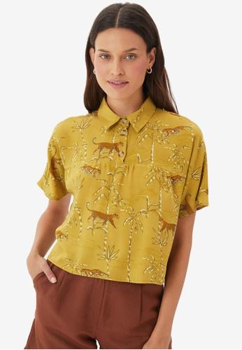 Trendyol yellow Printed Crop Blouse 50685AABDD6F54GS_1