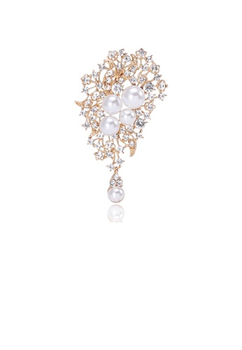 Glamorousky white Fashion and Elegant Plated Gold Geometric Floral Imitation Pearl Brooch with Cubic Zirconia 866BEACE6AE1EBGS_1