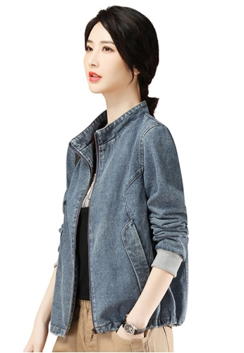 A-IN GIRLS blue Fashion Stand-Collar Denim Jacket A98C9AAD478BACGS_1