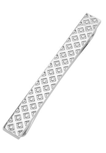 CUFF IT silver 50mm Engraved Diamond Texture Tie Clips CU047AC2UQ7RHK_1