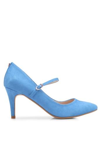 Velvet 海軍藍色 Heel with Strap BE004SHEB615B0GS_1