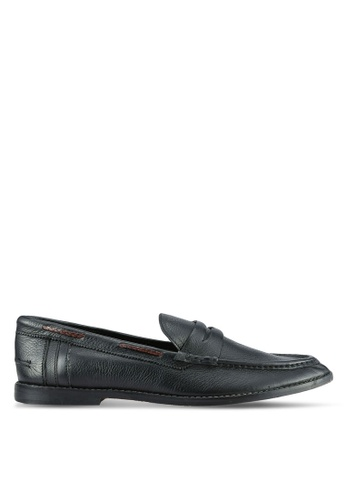 ZALORA black Soft Cowhide Leather Loafers E184CSH0282BAEGS_1