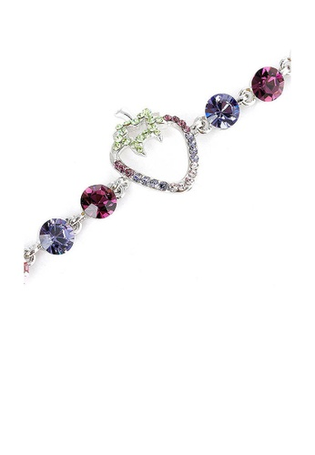 Glamorousky purple Strawberry Bracelet with Purple CZ and Multi-colour Austrian Element Crystals A8959AC21838FEGS_1