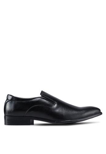 UniqTee 黑色 尖頭懶人皮鞋 5C999SH33866B5GS_1