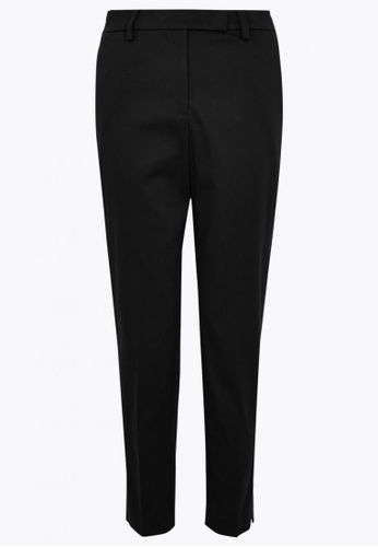 MARKS & SPENCER black Mia Slim Cotton 7/8 Trousers D5764AAB083C00GS_1