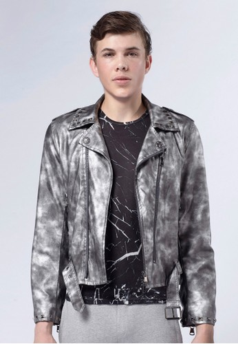 Life8 x Daniel Wong。銀漆鉚釘騎士夾克-03676-銀色, 服飾esprit hk, 外套
