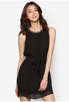 String Of Beads Neckline Chiffon Sleeveless Dress