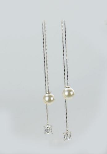 LYCKA silver LFF1240-LYCKA-S925 Silver White Zircon Fashion Tassels Earrings  -Silver LY529AC0HACOSG_1