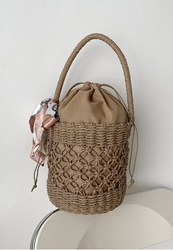 Lara brown Women's Straw Tote Bag - Khaki 946D3AC9ECF90EGS_1