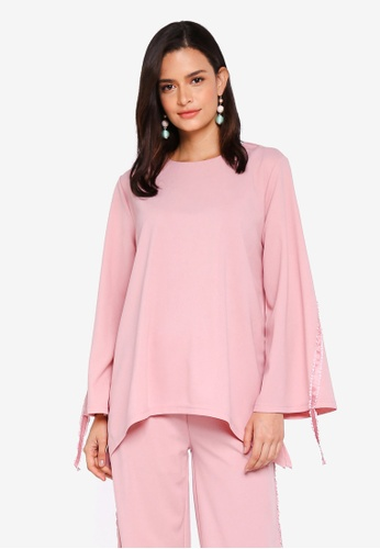 Lubna pink Soft Top With Ribbon 45A5FAA8FD6A79GS_1