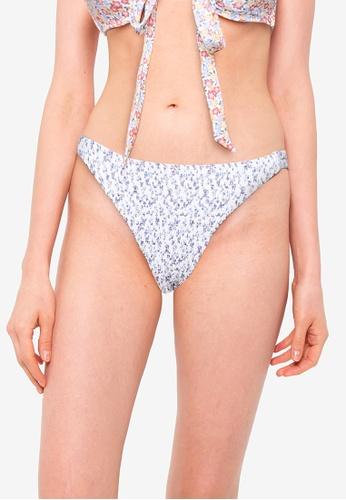 Hollister white Smocked Side Tie Cheeky Swim Bottom 8D63CUS14556E0GS_1