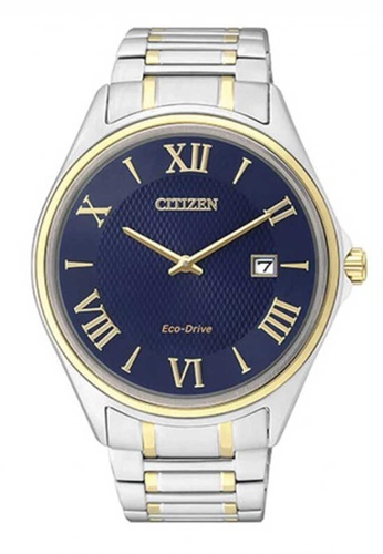 CITIZEN silver Citizen Eco-Drive Blue, Gold and Silver Stainless Steel Watch 78DC6ACB025AFEGS_1