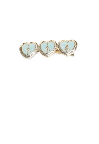 Glamorousky silver Fashion Simple Plated Gold Blue Heart-shaped Hair Clip 42374ACBCB46C9GS_1